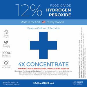 1 Gallon 12% Food Grade Hydrogen Peroxide Label