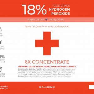 32 fl oz 18% Food Grade Hydrogen Peroxide Label